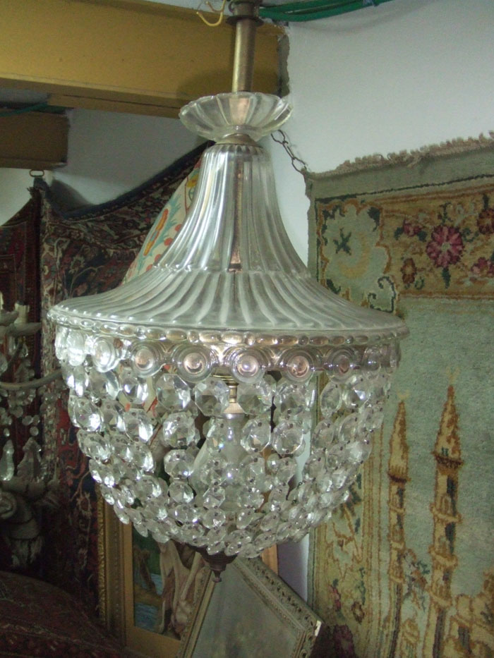 Vintage Crystal Amp Glass Tent And Bag Chandelier Ebay
